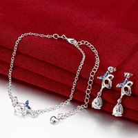 Wholesale women s gemstone sterling silver jewelry sets sets a mixed style leaves flower silver Anklet Earring jewelry set EMSS2
