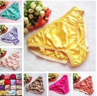 women thongs - Silk panties female mulberry silk trigonometric panties low waist lingerie care silk panty women silk thong