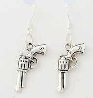 antique revolver - 2016 hot x11 mm Antique Silver Revolver Pistol Pendant Earrings Silver Fish Ear Hook Chandelier E298