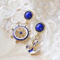 anchor blue jewelry - Women s Elegant Navy Anchor Helm Style Alloy Long Dangle Drop Jewelry Blue Earrings