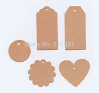 Wholesale 500pcs of Kraft Blank price Hang tag Retro Kraft Gift tag Paper Label Cards Mix design