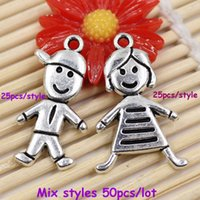 Wholesale Fashion Metal Zinc Alloy Silver Tone Girl Boy Charm Pendant For Necklace DIY Jewelry Making Accessories x18mm K02804