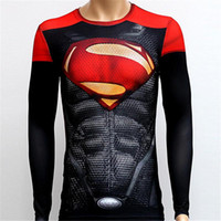 Wholesale Mens Compression Shirt Superhero Superman Capitan America Iron Man D T Shirt Clothing Gym Fitness Men Long Sport T Shirt