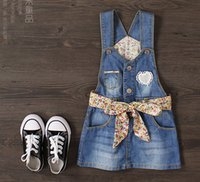 blue jean skirts - 2016 new style cowboy suspender dress girl s dresses children clothes kids clothes flower girls dress girls overalls fashion jean skirts