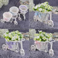Wholesale BowKnot Rattan Tricycle Bike Basket Party Wedding Decor Gift Home Decor