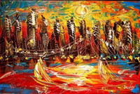 abstract cityscape - CITYSCAPE RUSSIAN IMPRESSIONIST Pure Hand painted Abstract ITYSCAPE Art Oil Painting Canvas any customized size accepted John