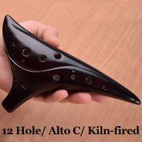 Wholesale Chinese Ceramic Ocarina of Time Kiln fired Submarine Hole furos Alto C Zelda of Ocarina Flute AC Wind Musical Instruments New
