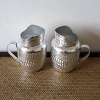 asia milk - Thai Oriental pewter hip flask manual tin ewer milk pot cold drink container special gift of south east Asia
