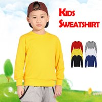 Wholesale 10 CUSTOM PRINTED KIDS PULLOVER SWEATSHIRTS COTTON QUALITY CHILDREN SWEATSHIRTS WITH ONE COLOR PRINT LOGO HFCMS001