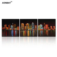 art painting pics - AONBAT ART pic Framed Hand Painted Oil Painting Set of Night Cityscape Wall Art House Office Decoration DSAMOP2337