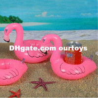 beach ball lot - New Arrival Flamingo Inflatable Drink Botlle Holder Lovely Pink Floating Bath Kids Toys Christmas Gift For Kids jy300