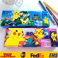 Wholesale New Poke Pikachu Pencil Case Cartoon Multi Function Pen Bags Stationery School Supplies Boxes With Double Hole Cutting Pen Toys Gifts HH C01