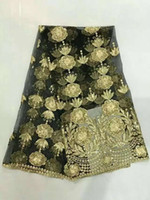 arrival sari - cp2New arrival gold sequined Swiss chiffon fabric high quality african tulle lace fabric for Indian sari dress Sewing