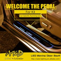 Wholesale AKD Car Styling LED Moving Door Scuff for Kia K3 Cerato Door Sill Plate Welcome Pedal LED Brand Logo Automobile Drl Accessories