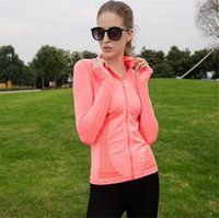 wholesale sports jackets - new Women s Yoga tops Long Sleeve Running Shirts Tops Compression Tights Sportswear Fitness Workout Quick Dry Breathable sport jackets
