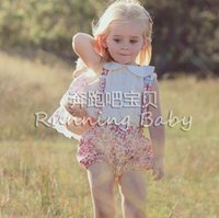 dolls clothes - INS baby outfits toddler kids doll lapel white vest tops floral print suspender shorts Bows headbands sets babies clothes A8300