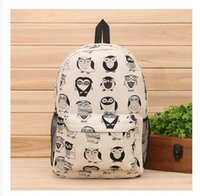 backpack notebook bag products - New products cartoon owl back packs notebook fashion canvas shoulder bag Korean female high school students laptop backpack New2016