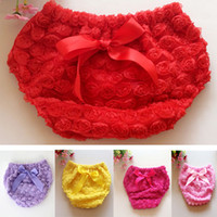 Wholesale 2016 Baby Girl Rose Flower Pettiskirt Ruffle Panties Bloomer Diaper Cover Kids Underwear PP Pants Toddler Children Photography Pants ZJ P03
