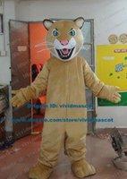 adult cheetah costumes - Fierce Light Brown Leopard Panther Pard Cougar Cheetah Mascot Costume Cartoon Character Mascotte Adult Pink Nose ZZ559 Free Ship