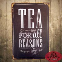 antique tea tin - quot Tea For All Reasons quot Metal Tin Sign Decor Bar Pub Home Retro Poster Cafe Art Poster Wall Decor