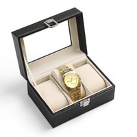 Wholesale 2016 New and Fashion Grid Black Leather Jewelry display casket Jewelry organizer Wristwatch box case for Jewlery gift box