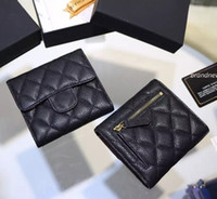Wholesale Classic Short three Folding Card ID Holder women wallet genuine leather famous brand caviar lambskin short wallets