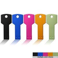 key shape usb flash drive - 2016 G USB Flash Drive Metal Key Design Shaped Memory Stick USB Real GB custom LOGO