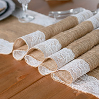 Wholesale 1pcs Retail Natural Burlap Table Runner Hessian Vintage Tablecloth Cover with Jute Lace Rose Pattern for Wedding Party Rustic Decor