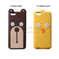 bear resistant bags - Cartoon D Cute Silicone Brown Bear Yellow Duck cover CaseCase for iphone s plus SE s With Opp Bag