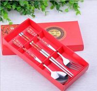 Wholesale 100sets Spoon Chopsticks Fork Dinnerware Stainless Steel Cutlery Set Tableware Wedding Feast Gift Rose Four Leaf Clover