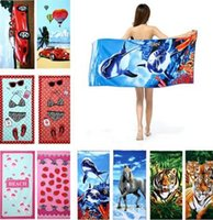 Wholesale 42 Types Fashion Printing cm Hot Sale Absorbent Microfiber Bath Beach Towel Drying Washcloth Swimwear Shower