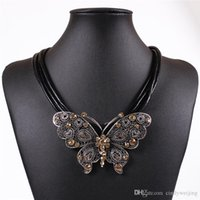 big rope chain necklace - Party Wedding Chain Necklace Choker Women Lady Fashion Big Butterfly with Leather Rope Jewelry Choker Bride Wedding Colors