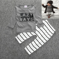 stripe pants - 2016 Cute Cartoon Lazy Days Baby Girls Boys Outfits Set Summer Sets Boy Cotton Tops Harem Pants Suits Kids Stripe Ins Shirts