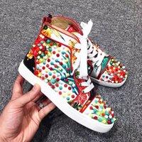 b designs pattern - New Design High Quality Unisex Flowers Pattern Flat Shoes Men Women High top Rivet Casual Shoes Size Hot