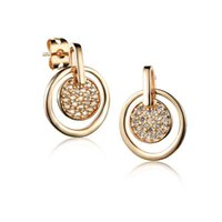 big gold circle earrings - Fashion Circle Pendientes Earrings for Women Vintage Big Round Gold Plated Statement Drop Earrings CZ Diamond Brincos Jewlery CE022