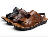 beach yellows business - 2016 Fashion Man Business Shoes Cow Genuine Leather Summer Flat Head Beach Sandals Yellow Brown Black