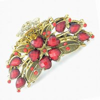 Wholesale Top Selling Vintage Big Colorful Rhinestone Resin Flower Hair Claw Hair Clips For Women Jewelry DHF876