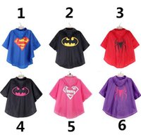Wholesale DHL EMS Superhero Superman Batman Children s Raincoats Kids Boys Girls Rainwear Cartoon Lovely Rain Coat Boy Girl Baby Rainsuit
