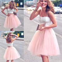 ball gown skirt separate - Casual Fashion Street Look Separates Two Pieces White Crop Top and Pearl Pink Tulle Tutu Skirt Party Dresses Little Short Mini Cocktail Gown