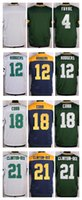 aaron rodgers green jersey - NIK Elite Football Stitched Packers Favre Aaron Rodgers Cobb Clinton Dix Blank White Green BLue Jerseys Mix Order