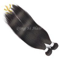 Wholesale QINGSI Human Hair Weft Straight Bundles Brazilian Virgin Hair Natural Color Hair Extensions Mixed Length inch bag Free Ship