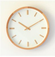 beech bedroom - 2016 new Nordic style beech frame inch wall clock fashion living room bedroom wood beautiful sound mute quartz watch lxq