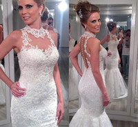 Cheap New Design Lace Appliques Mermaid Wedding Dresses High Neck Illusion Bodice Long 2016 Real Photos Garden Plus Size Bridal Wedding Gown Cheap