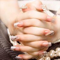 beauty tips bride - Brand Fake Nails Bling Bling Shing d false nails x24 Nails Tips Full Cover Bride Nails With Peal Decoration nails art Beauty home use nail