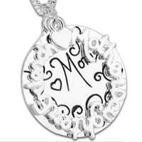 alphabet letter writing - 9pcs punk Writing word letter Alphabet Circle Duplex Double sided lettering mom round card dual double pendant necklace mom gift x274
