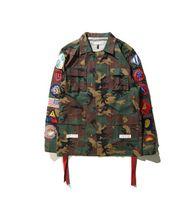 badge jacket - 2016 new arrive fashion brand men kanye west Off White jacket camouflage red stripe badge windbreaker
