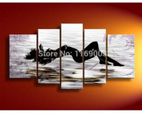 Wholesale Sexy Nude Wall Art - 5 piece modern canvas wall handmade Large abstract Black sexy nude art women oil painting on canvas living room home decoration