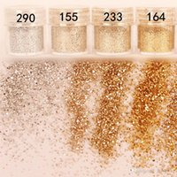 Wholesale Champagne Silver Colors Nail Art Glitter Powder Dust For UV Acrylic Powder Decoration Tips M01811