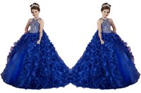 Wholesale Little Girl Dance - Luxury Beads Custom Made Royal Blue Little Girls Pageant Dresses Ruffled Removable Kids Party Gowns Children Floor Length Dance Ball Gowns