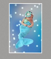 Wholesale 1pc Crochet baby girl mermaid tail handmade colorful blanket newborn baby sleeping bag cotton yarn mix color